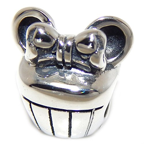 Pro Jewelry 925 Solid Sterling Silver Cupcake with Minnie Ears and Bow Charm Bead