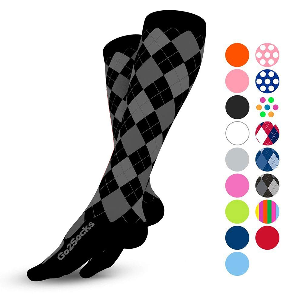 Go2Socks Compression Socks for Men Women Nurses Runners 20-30 mmHg (high) - Medical Stocking Maternity Travel - Best Performance Recovery Circulation Stamina - (2BlackArg,M) by Go2Socks (Image #1)