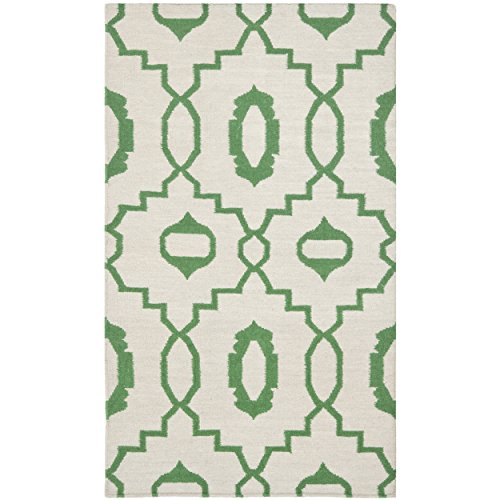 Safavieh Dhurries Collection DHU205B Hand Woven Ivory and Green Premium Wool Area Rug (4' x 6')