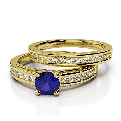 Or jaune 18carats 1/2ct G-H/VS sertie de diamants ronds Cut Saphir et mariée Bague de fiançailles et ensemble de Agdr-1159