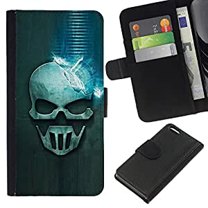 EJOY---La carpeta del tirón la caja de cuero de alta calidad de la PU Caso protector / Apple Iphone 5C / --Cráneo azul