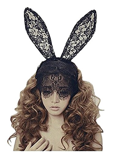 Sealike Lady Filigree Lace Veil Wedding Black Mask Party Mask Headband Hair Lacework with Rabbit Bunny Ears Great for Christmas Party Dress with a Stylus -