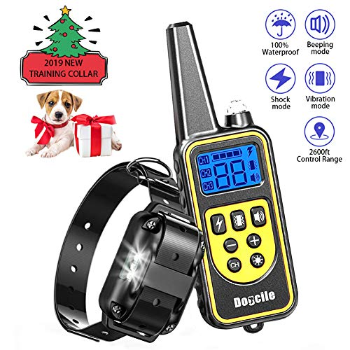 FUNSHION Dog Shock Collar with Remote 800 Yards USB Charging Shock Collar for Dogs Waterproof 4 Modes Shock Vibration Sound LED Light Adjustable Dog Training Collar for Small Medium Large Dogs - Remote Bark Collar