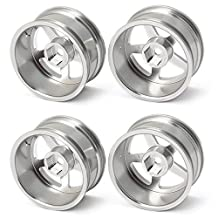 DN Silver Aluminum Alloy Wheel Rims With 5 Spoke For RC 1:10 On Road Car (Pack Of 4)
