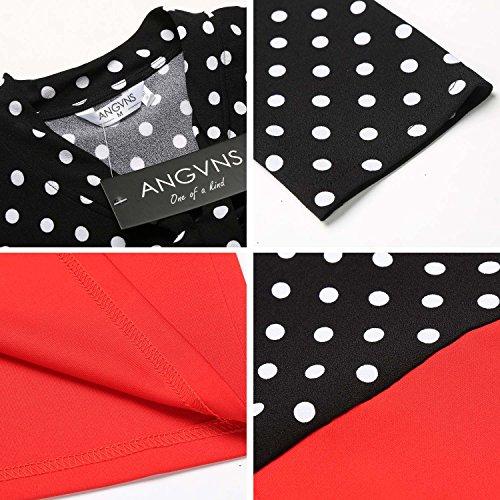 Angvns Femmes Manches 3/4 Paquet Patchwork Dot V-cou Hanche Mince Partie Robe Crayon Rouge
