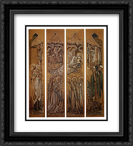 Edward Burne Jones 2X Matted 20x22 Black Ornate Framed Art Print 'The Nativity, Cartoons for Stained Glass at St. David's Church, Hawarden'