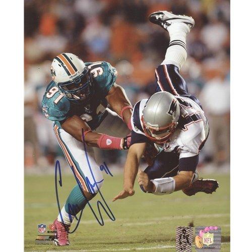 (Cameron Cam Wake Autographed Miami Dolphins (Throwing Brady) 8x10 Photo - Wake Holo)