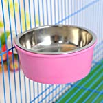 Small-Pet-Cage-Accessories-Food-Water-Bowl-2-in-1-Plastic-Bowl-Stainless-Steel-Bowl-Mountable-Cat-Rabbit-Bird-Hamster-Chinchilla-Ferret-Food-Basin-Dish-Perfect-for-Crates-Cages-Color-Random