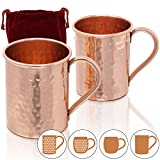 Amazy Moscow Mule Mugs - Set of 2 handmade solid copper mugs (cylinder | hammered)