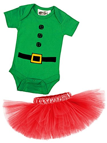 [Elf Green One Piece and Red Classic Tutu Christmas Costume Set (6 Months)] (Tutu Costume Ideas For Toddlers)