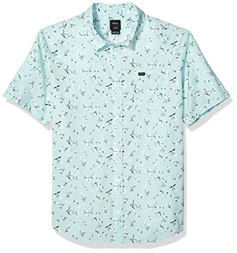 (RVCA Men's ELEGIE Floral Short Sleeve Woven Button Front Shirt, Blue Haze, L)