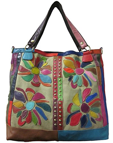AmeriLeather Rosalie Canvas/Leather Tote (Rainbow) (Amerileather Tote Leather)
