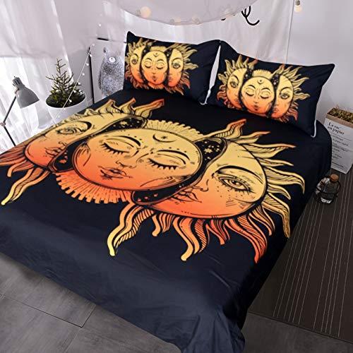 BlessLiving Celestial Bedding Black Yellow Crescent Moon Bedclothes 3 Piece Duvet Cover Set Boho Bed Linen (Twin)