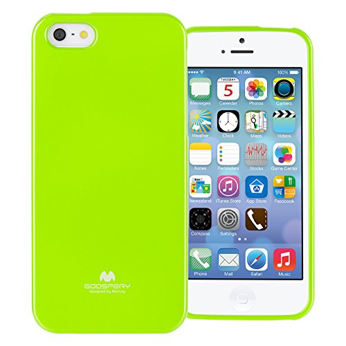 GOOSPERY Marlang Marlang iPhone SE/5S/5 Case - Lime Green, Free Screen Protector [Slim Fit] TPU Case [Flexible] Pearl Jelly [Protection] Bumper Cover for Apple iPhoneSE 5S 5, IP5-JEL/SP-LIM (Lime Apple)