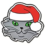 PinMart's Christmas Cat with Santa Hat Enamel Lapel Pin