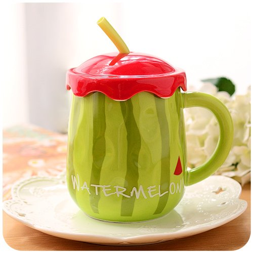 BBujsgH Fruit 3d stereo Tatu CERAMIC MUG lovely coffee cups of water with a couple of large , cover Watermelon