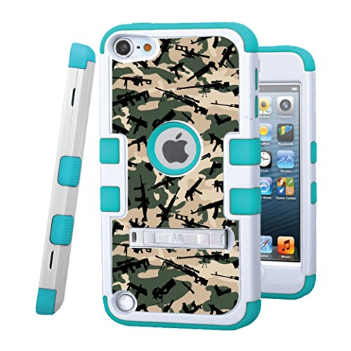iPod touch 5 / 6 Case, CASECREATOR[TM] For Apple iPod touch 5th / 6th GEN () -- TUFF Hybrid Rubber Hard Snap-on Case White/Tropical Teal-Weapons Camo Pattern (Purple Camo Cases For Ipod 5)
