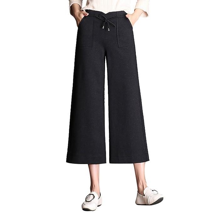 d3c1e397023a WanYang Donna Casual E Elegant Pantaloni Diritti Moda Pantaloni in Vita  Elastica Pantaloni di Gamba Larga: Amazon.it: Abbigliamento