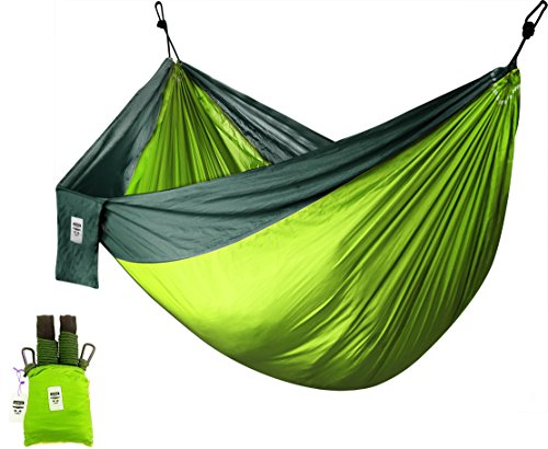 Supreme Nylon Hammock (Green)- Supports Up To Two People or 400 LBS - Porch, Backyard, Indoor, Camping - Durable, Ultralight Material for Strength & Comfort with Hanging Straps - Utopia Home