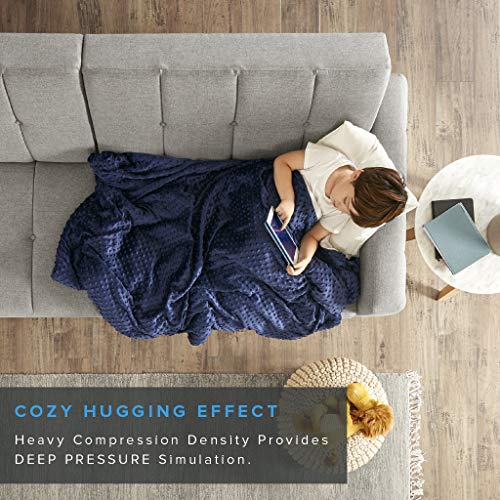 Degrees of Comfort Weighted Blanket w/ 2 Duvet Covers for Hot & Cold Sleepers|Advanced Nano-Ceramic Beads Deliver Durability & Silky Comfort (36x48 6lbs, Blue/Grey)
