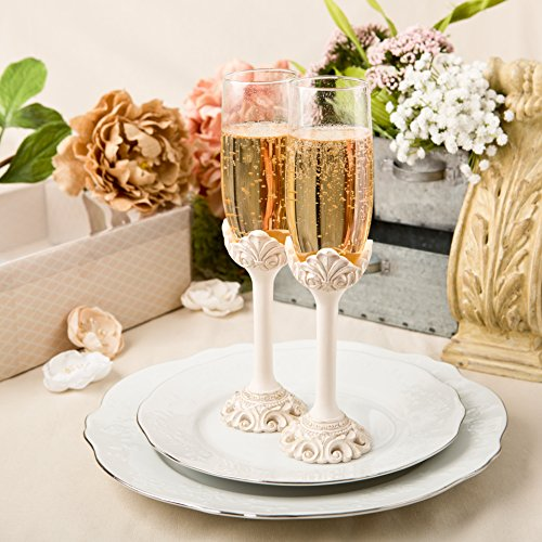 Fashioncraft Baroque Design Antique Ivory Set Of Toasting Flutes, Ivory (Wedding Flutes Toasting)