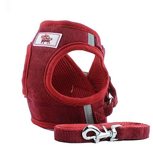 Pet Cat Dog Puppy Cat Corduroy Mesh Vest Leash Chest Straps Belt ()