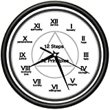 12 STEPS 12 PRINCIPLES Wall Clock aa alcoholics anonymous principles virtue gift