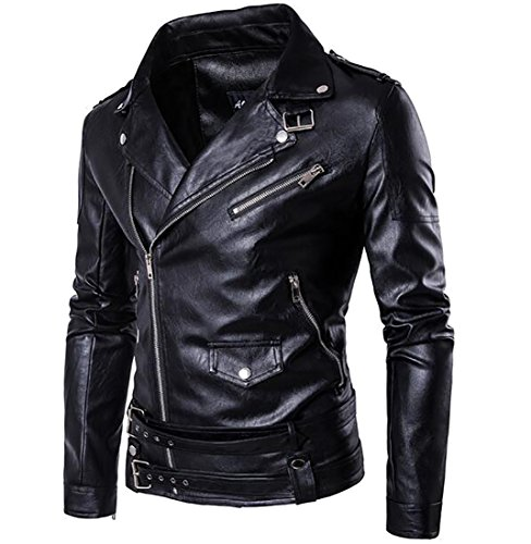 Generic Mens Classic Slim Faux Leather Bomber Jacket - Plus Size Mens Leather Jacket
