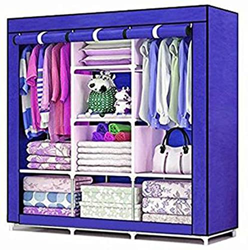 Store Big Sell Stainless Steel Portable Multipurpose Wardrobe Cabinet with Collapsible Rack  Blue