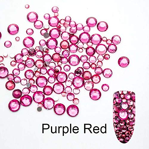 Nails Art Accessories - Mix SS3-SS20 Size Glass Crystal Nail Rhinestone Non Nail Rhinestones For Nails 3D Decorations 3D Nail Art Rhinestones Nail Jewelry And Decorations - Purple Red -