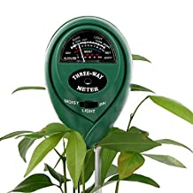 Soil Tester Kit, 3-in-1 Digital Soil Meter for Moisture, Light and pH / Acidity, Plant Tester for Garden, Farm, Lawn, Indoor & Outdoor, Easy to Use and Fast Read (No Battery needed)