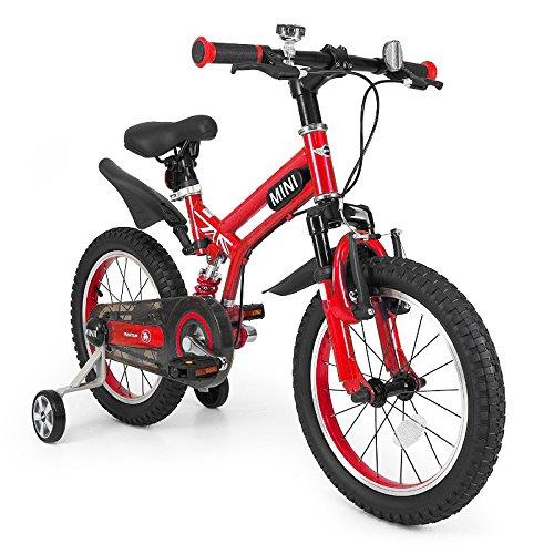 子供用自転車 補助輪付き MINI 16インチ 前後サス付き[RSZ1605] MINIライセンス自転車 補助輪 サスペンション付き 自転車 【カンタン組立】 (レッド) B07CZ9R3QZ レッド レッド
