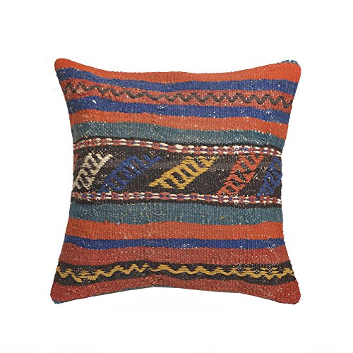 Unique Handmade Decorative Kilim Pillow Cover. Multiple Designs, 100% Woven, from Turkey. Authentic Boho Home Deco. Colorful case Cushion with Hidden Zipper 16×16