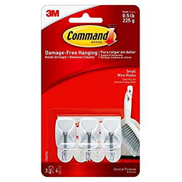 3 M Command kleine Draht Haken, 0.5lb Kapazität, Weiß, 6 Stück (2 ...