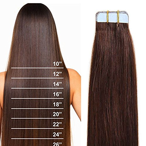 16'-22' 100% Remy Hair Real Natural Tape in Human Hair Extensions 7A Skin...