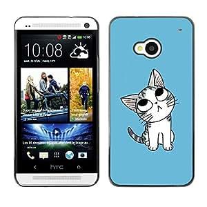 Be Good Phone Accessory // Dura Cáscara cubierta Protectora Caso Carcasa Funda de Protección para HTC One M7 // Cute Japanese Thoughtful Cat