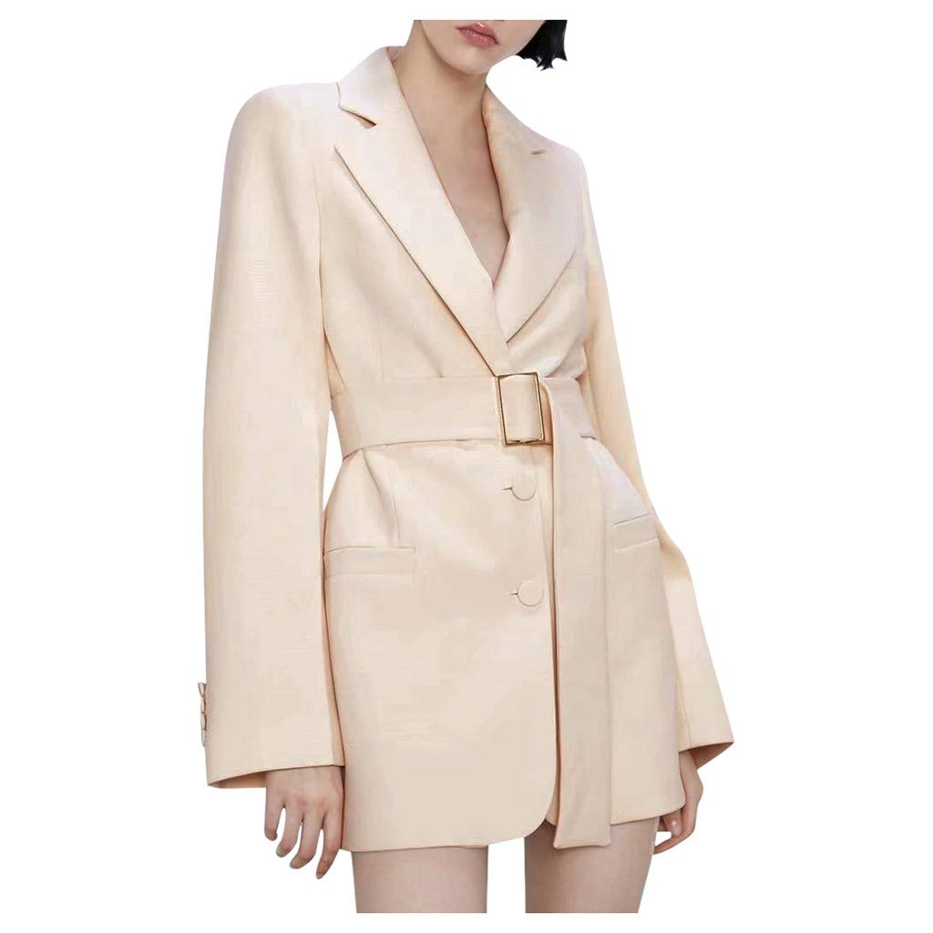 YANG-YI Elegant Womens Jacket Casual Ladies Winter Turn-Down Collar Long Sleeve Coat Beige by YANG-YI