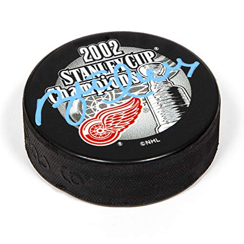 AJ Sports World Brett Hull Detroit Red Wings Autographed 2002 Stanley Cup Champions Hockey Puck