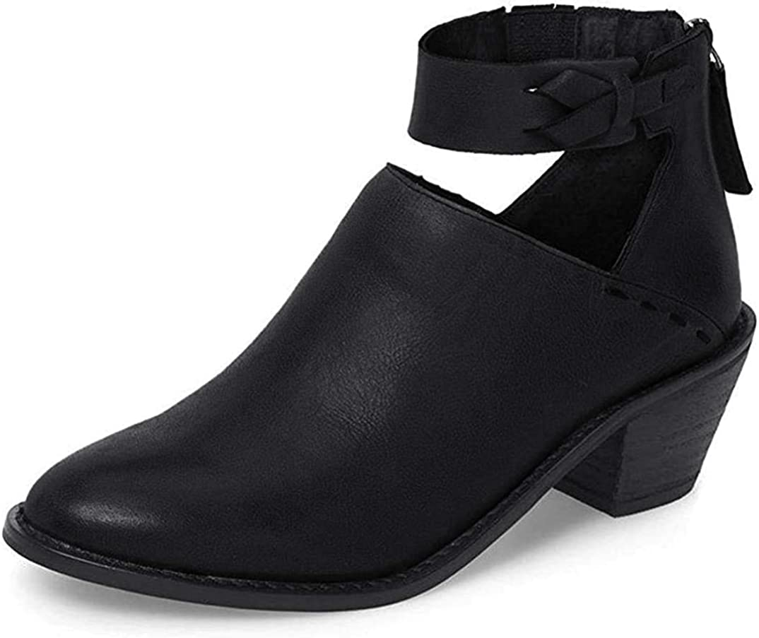 Women Ankle Boots Zipper PU Leather