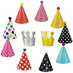 Wubao Birthday Party Hats Fun Party Hats Set Kids Adults 11PCS