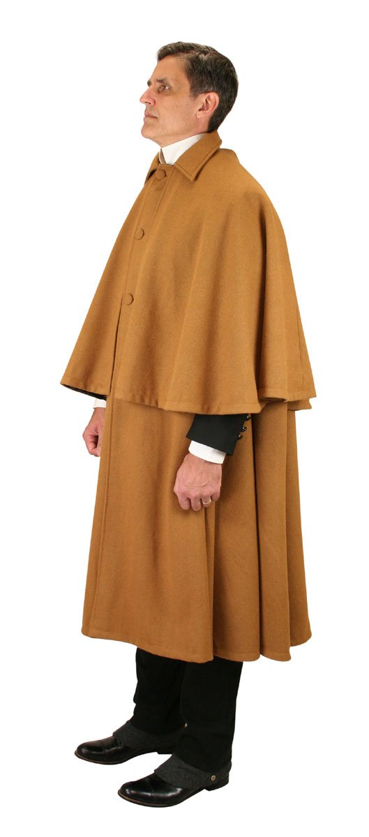 Historical Emporium Men's 100% Wool Inverness Dress Cape Caramel/Black