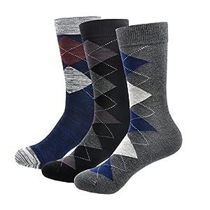 MORECOO Men's Cotton Dress Socks Argyle Mid-Culf Trouser Socks