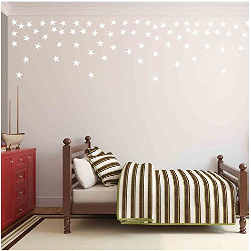 Owl Hills Wall Stickers: Stars, White, 2.5