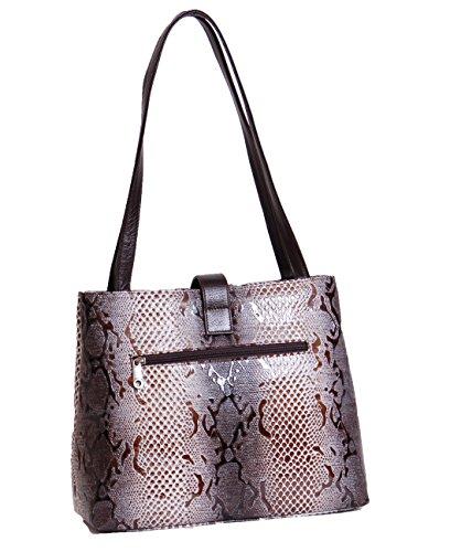 Classique en cuir véritable sac casual pour les femmes Mesdames affaires Sac à main la conception de serpent MERIS gris