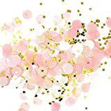 Arts & Crafts : Premium 1-inch Round Tissue Paper Party Table Confetti - 50 Grams (Pink, White, Gold Mylar Flakes)