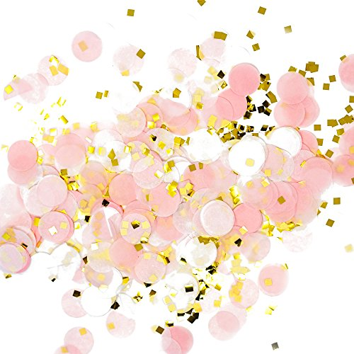 Premium 1-inch Round Tissue Paper Party Table Confetti - 50 Grams (Pink, White, Gold Mylar Flakes) (Princess Stack 8)