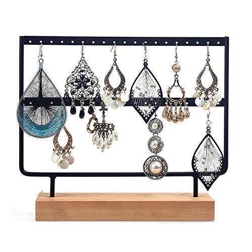 (yanQxIzbiu Jewelry Organizer, 2 Tier Wood Earrings Organizer Jewelry Holder Necklace Bracelet, Jewelry Hanging Stand, 24/44 Holes Black L)