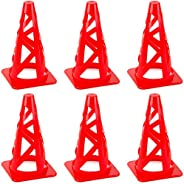 """Crown Sporting Goods Red 9"""" Collapsible High Hat Sport Cone Markers for Indoor/Outdoor Agility Tra"""