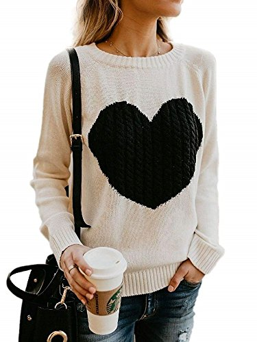Kathemoi Womens Casual Sweaters Crew Neck Heart Black Grey Jumper Pullover Sweater Knit (Hearts Skirt Sweater)