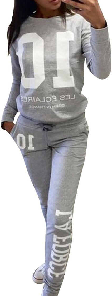 Donna Tuta Sportiva con Cappuccio Due Pezzi Abbigliamento Sportivo Giacche Pantaloni Sportivi Tuta Corsa Fitness Jogging S-2XL Xbao